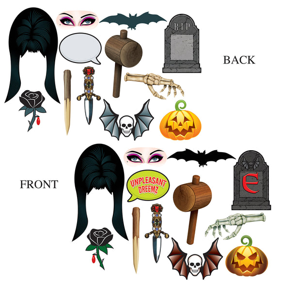 12 Piece Elvira Mistress of The Dark Photo Fun Signs Halloween Party Decorations