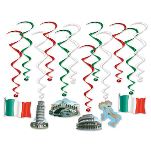 12 Piece Italian Whirls Hanging Party Decorations - Italy Ceiling Decor