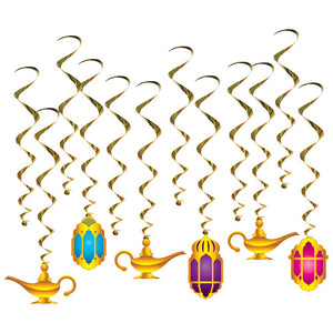 12 Piece Lantern and Lamp Whirls - Arabian Nights Hanging Party Decorations
