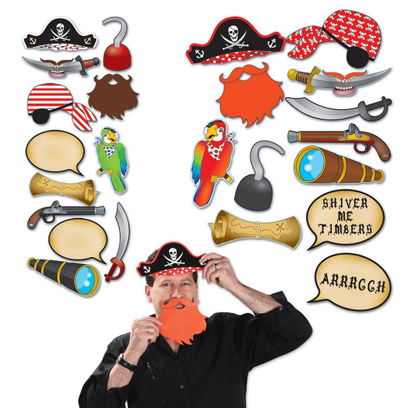 12 Piece Pirate Photo Fun Signs - Pirates Cutout Party Decorations