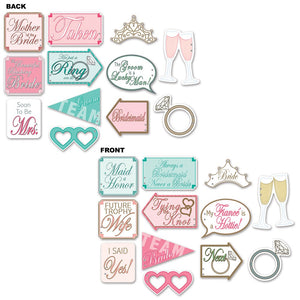 12 Piece Wedding Shower Photo Fun Signs - Hen Party Cutout Decorations