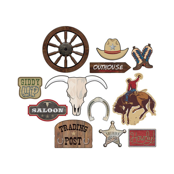 12 Piece Western Cutouts - Wild West Cowboys and Sheriffs Party Decorations