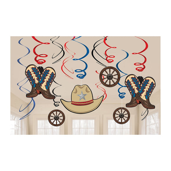 12 Piece Western Swirls Hanging Party Decorations - Wild West Cowboys