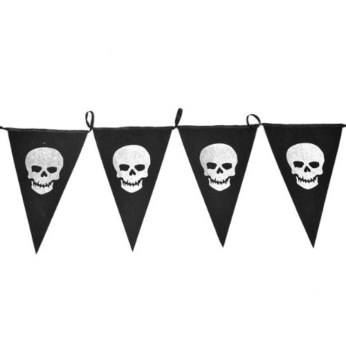 160 cm Halloween Skulls Fabric Bunting - Creepy Hanging Banner Party Decorations