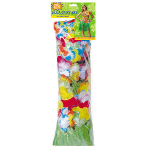 Luau Set with Skirt Bra Lei & 2 Wrist Bands - Tropical Party Fancy Dress Kit