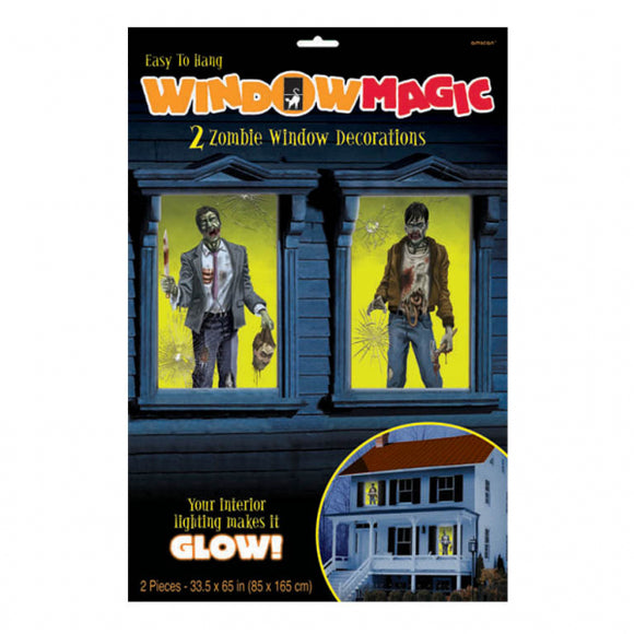 2 Piece Zombie Window Magic Decorations - 85 cm x 165 cm - Halloween Party