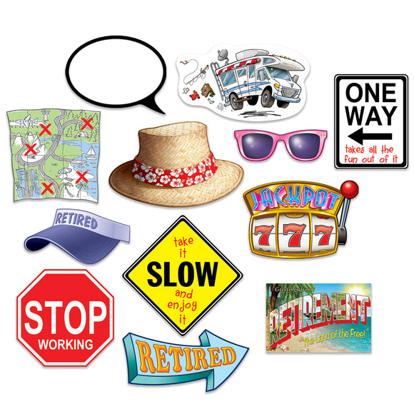 12 Piece Retirement Photo Fun Signs - Photo Prop Cutout Party Decorations