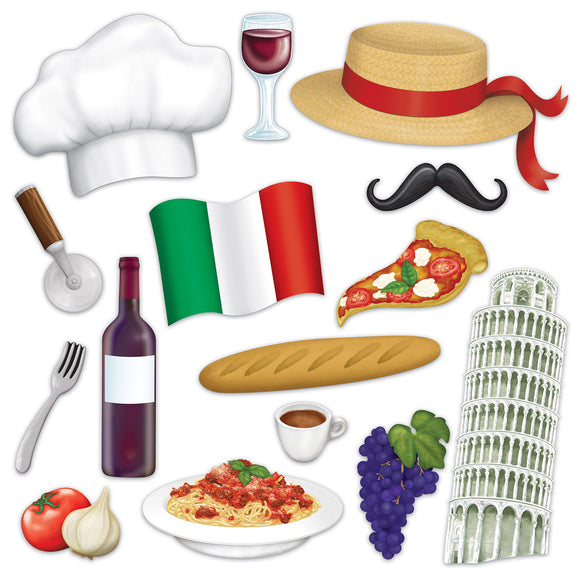 15 Piece Italian Photo Fun Signs - Italy Photo Prop Cutouts - Party Decorations