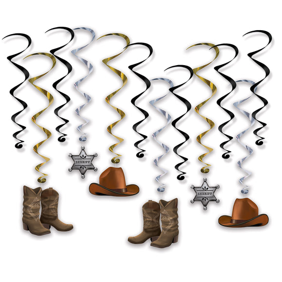 12 Piece Western Whirls Hanging Ceiling Party Decorations - Cowboys and Sheriff