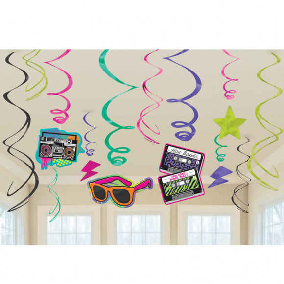 12 Piece Totally 80's Hanging Swirls Party Decorations - 1980's Ceiling Decor