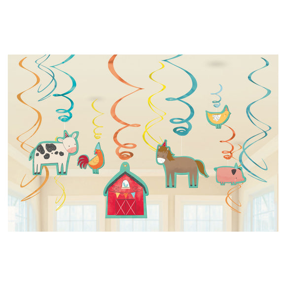12 Piece Barnyard Birthday Swirls - Farm Animals Hanging Party Decorations