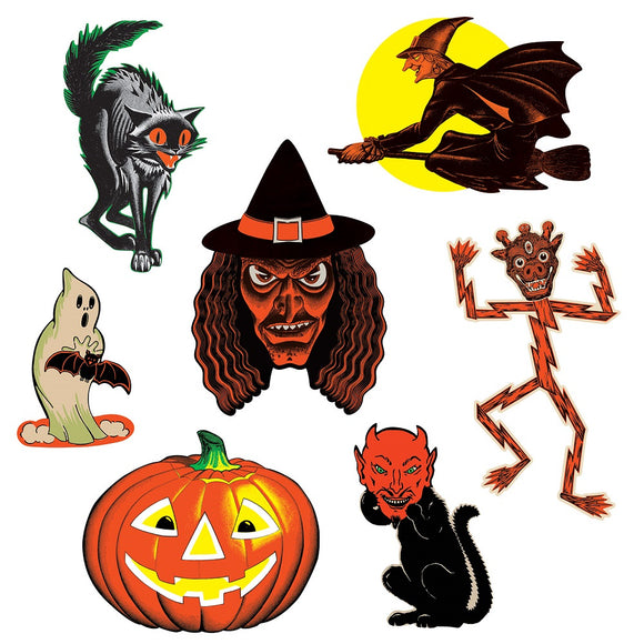 7 Piece Vintage Halloween Classic Cutouts Party Decorations - Pumpkin Witch etc