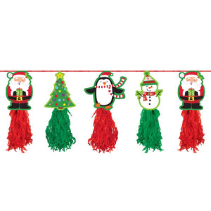 8ft Holiday Tissue Paper Tassel Garland - Hanging Christmas Party Decorations