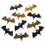 Pack of 100 Black and Gold Foil Bat Cutouts - Halloween Party Decorations