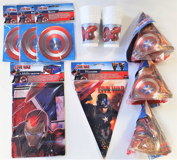 Captain America Civil War Party Pack for 16 People Marvel Tableware & Decoration
