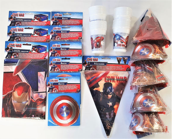 Captain America Civil War Party Pack for 30 People Marvel Tableware & Decoration