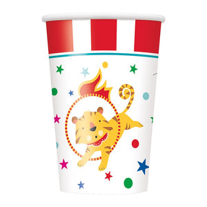 Pack of 8 Circus Carnival Paper Cups - 270 ml - Party Tableware