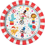 Pack of 8 Circus Carnival Paper Plates - 22 cm - Party Tableware