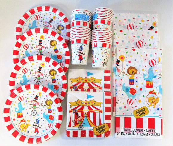 Circus Carnival Party Tableware Pack for 32 People - Plates Cups Napkins etc