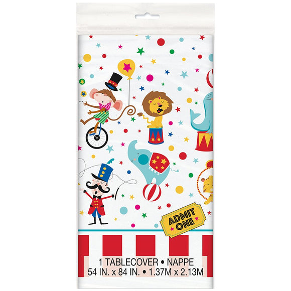 Circus Carnival Plastic Table Cover - 137 cm x 213 cm - Party Tableware