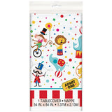 1 Circus Carnival Plastic Table Covers - 137 cm x 213 cm (54 in x 84 in).