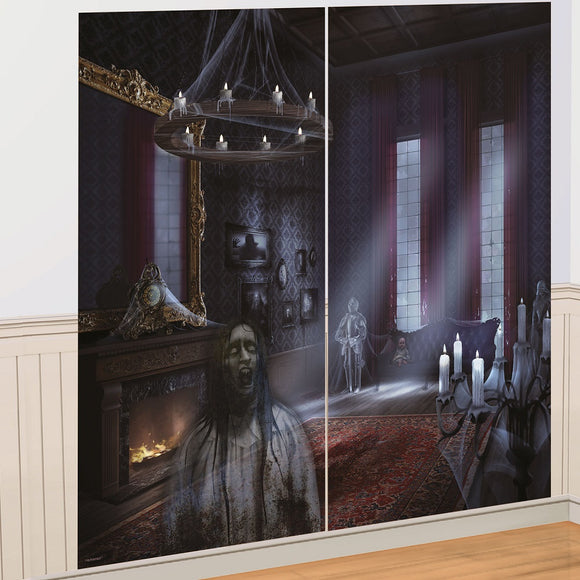 2 Piece Dark Manor Haunted House Scene Setter - Halloween Party Decorations