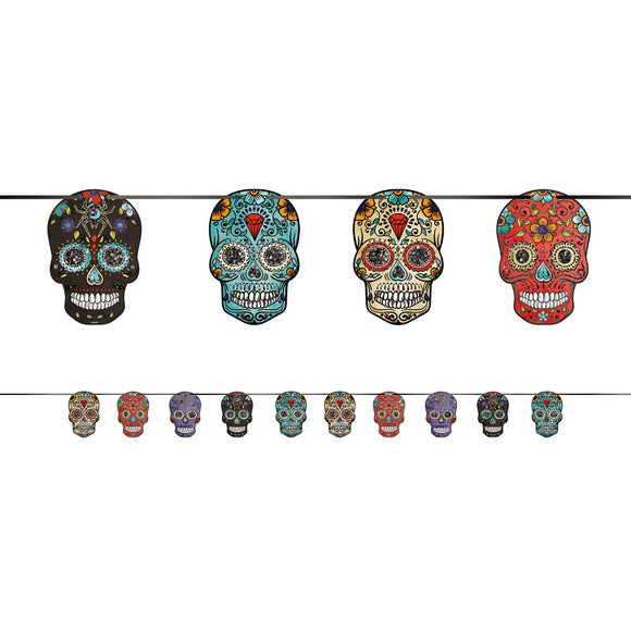 Day of The Dead Sugar Skull Banner - Hanging Halloween Party Decorations