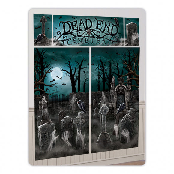 Dead End Cemetery Wall Decorating Kit - Halloween Scene Setter Party Decorations