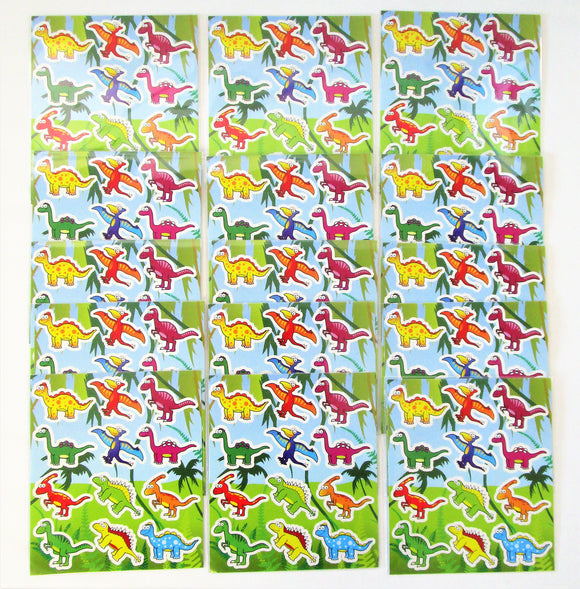 Pack of 15 Dinosaur Fun Sticker Sheets - Animal Favours - Party Bag Fillers