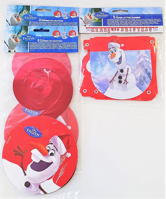 Disney Frozen Olaf Letter Banner and Hanging Whirls Christmas Party Decorations