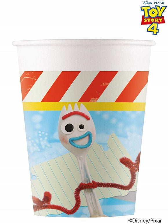Pack of 8 Toy Story 4 Paper Cups - 200 ml - Disney Pixar Party Tableware