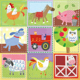 16 Farm Animals Paper Napkins 2 ply - 33 cm x 33 cm (12.9 in x 12.9 in).