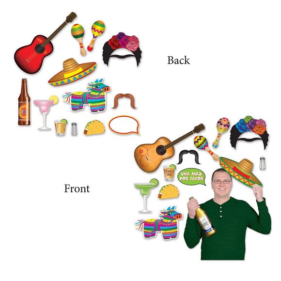 13 Piece Fiesta Photo Fun Signs - Mexican Party Photo Prop Cutout Decorations