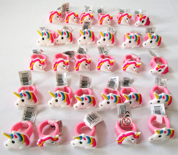 Pack of 30 Assorted Unicorn Rings - Kids Favours - Fantasy Party Bag Fillers