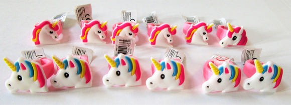 Pack of 12 Assorted Unicorn Rings - Kids Favours - Fantasy Party Bag Fillers
