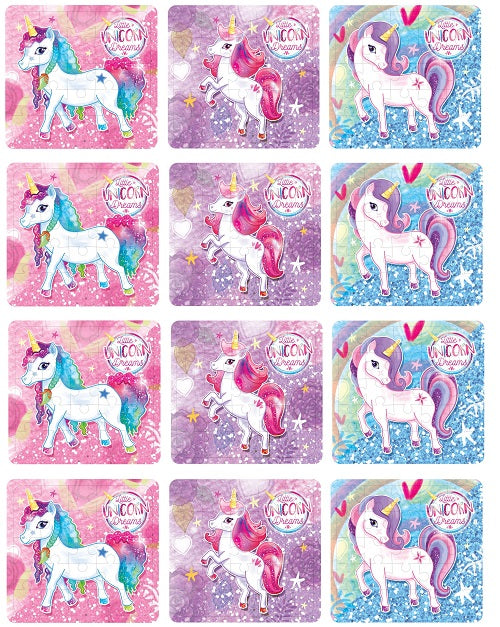 Pack of 12 Unicorn Mini Puzzle Games - Fantasy Favours - Kids Party Bag Fillers