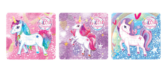 Pack of 3 Unicorn Mini Puzzle Games - Fantasy Favours - Kids Party Bag Fillers