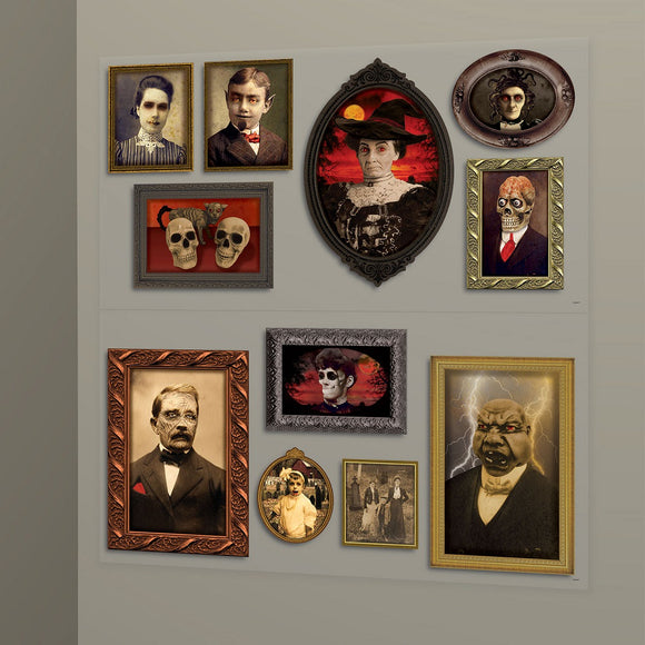 Gothic Mansion Portraits Add on Scene Setter - Halloween Party Decorations