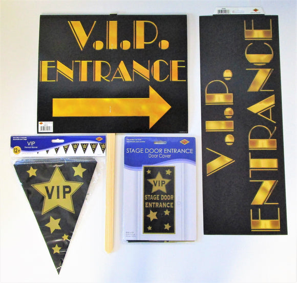 Hollywood V.I.P Party Decorations pack - VIP Yard Sign Bunting Door Cover etc