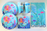 Mermaid Party Tableware Pack for 16 People - Plates Cups Napkins Table Cover