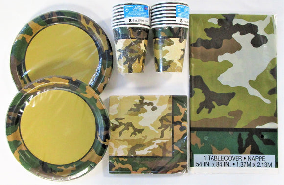 Military Camouflage Party Pack for 16 People - Army Camo Party Tableware