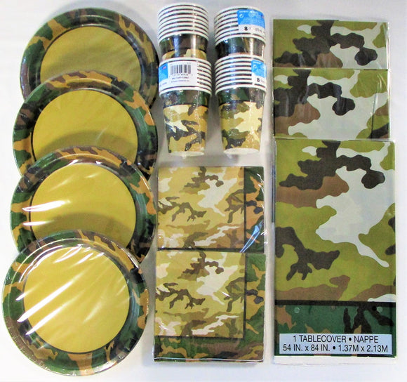 Military Camouflage Party Pack for 32 People - Army Camo Party Tableware