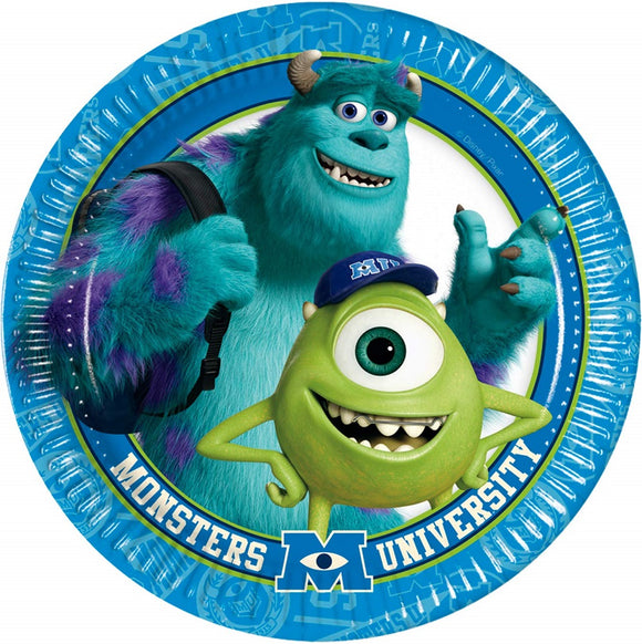 Pack of 8 Monsters University 23 cm Paper Plates - Disney Party Tableware