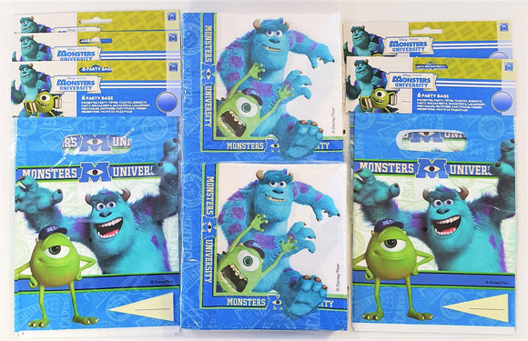 Monsters University Pack of 30 Party Bags and 40 Napkins - Disney Monsters inc