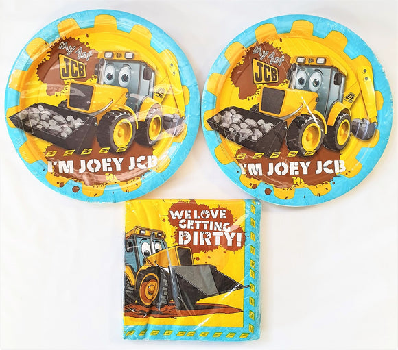 My First JCB  Party Tableware pack for 16 people - Plates and Napkins