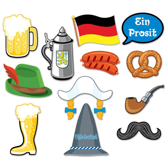 12 Piece Oktoberfest Photo Fun Signs - German Beer Festival Party Decorations
