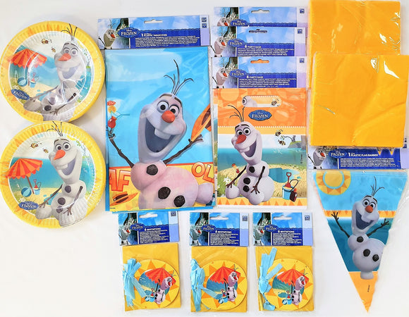 Olaf Summer Party Pack for 16 People - Disney Frozen Tableware and Decorations
