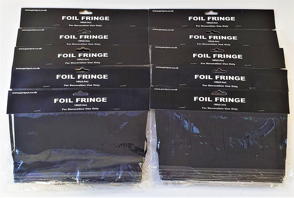 Pack of 10 Black 18ft Foil Fringe Garlands - Halloween Hanging Party Decorations