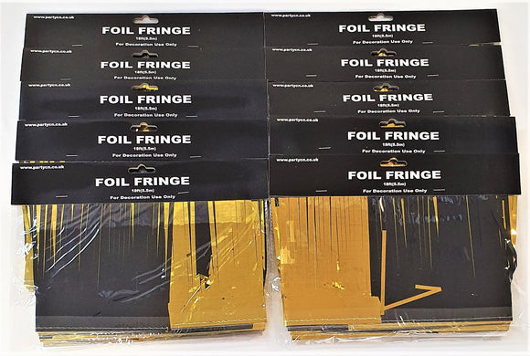 Pack of 10 Black and Gold 18ft Foil Fringe Garlands - Christmas Party Decoration