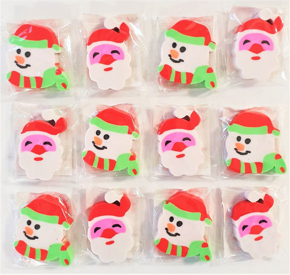Pack of 12 Christmas Erasers - Stocking & Party Bag Fillers - Xmas Party Favours